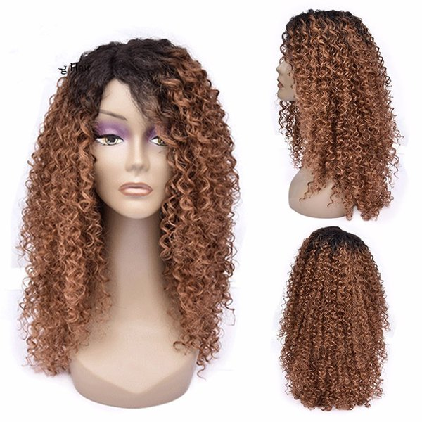 100% aaaaa unprocessed raw remy virgin human hair #30 ombre color long kinky curly full lace wig for women