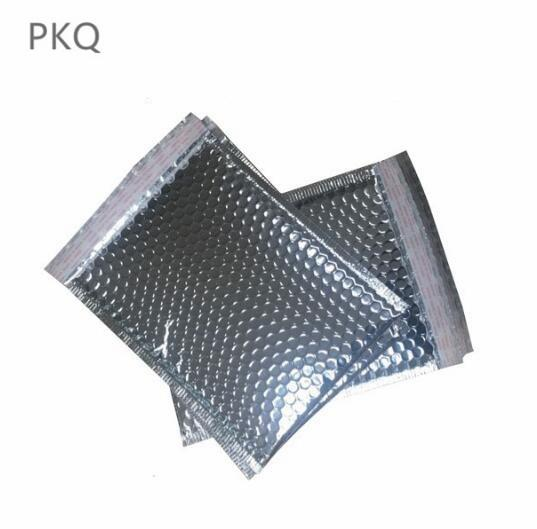 10 unids / lote plata de aluminio acolchado envolvente metálico de burbujas de correo de papel de aluminio bolsa de regalo envoltura de embalaje