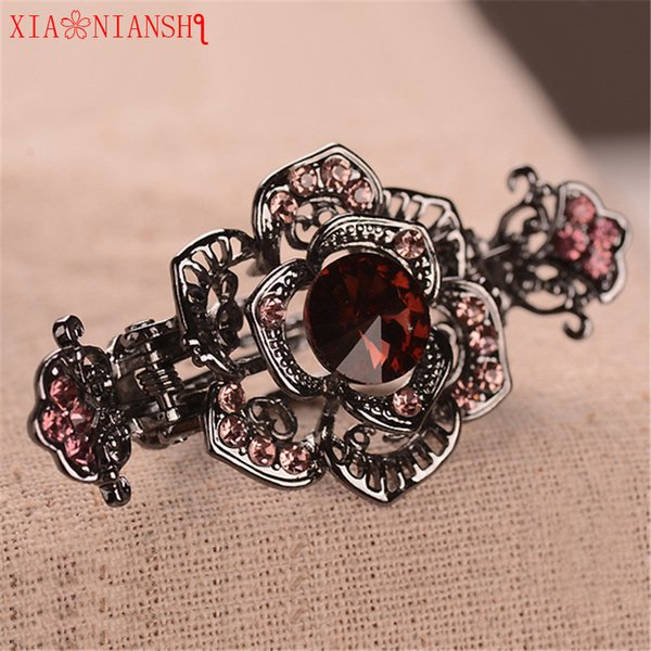 XIAONIANSHI New Flossy Opals Crystal Flower Rhinestone Hair Clip Peacock Hairpin Headwear Accessories Jewelry For Women Wedding