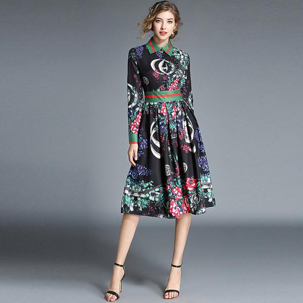 Haute Qualité Designer Fashion Runway Dress 2018 Automne Femmes À Manches Longues Fleur Imprimé Slim Élégant Plissée Robe