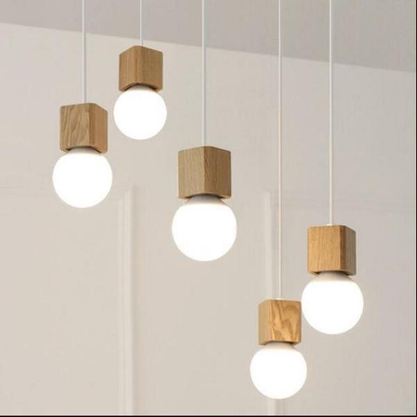 Luz pingente de madeira Sombra de madeira moderna lâmpada corlorful socke teto interior do vintage Pendurado decorado luminária sem lâmpada