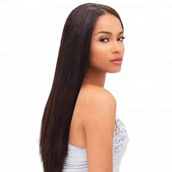 Nature on sale tangle free aaaaaaaa 100% unprocessed virgin remy human hair natural color silky straight full lace cap wig for girl