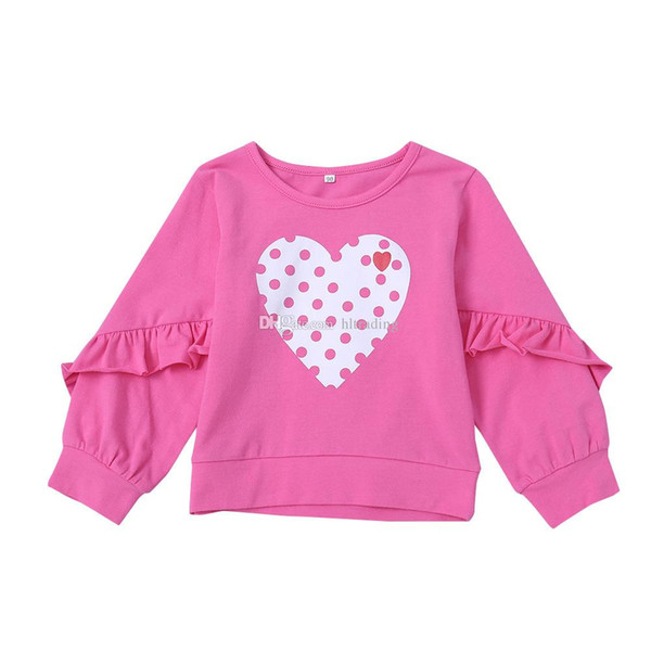 Niños Rosa corazón sudadera Algodón niños Niñas Tops Ruffle manga larga Dot T camisetas Primavera Otoño Camisetas bebé ropa C5498