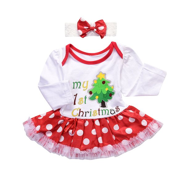 Children Kids Girl Dress Long Sleeve Round Neck Cute Christmas Tree Pattern Headband Set FJ88