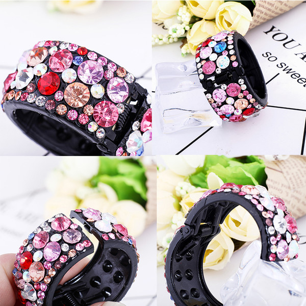 2018 Hair Clips for Hair Plastic Crystal Gum for Hair Ponytail Ring Buckle Holder Women Accessories Hairpin