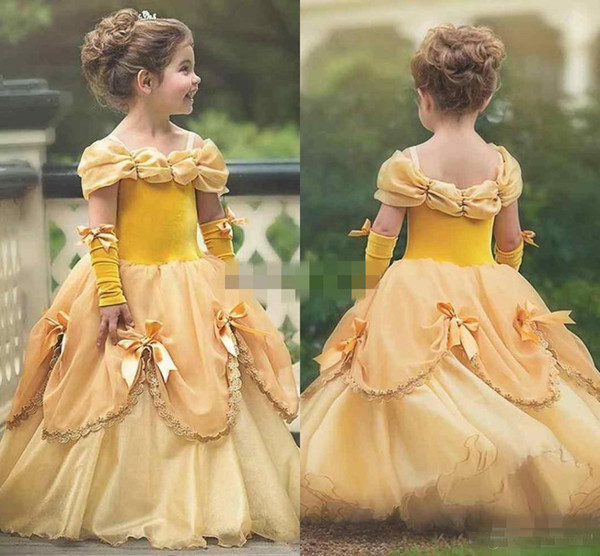 2018 Gorgeous Yellow Ball Gown princess Girls Pageant Dresses with spaghetti straps summer Puffy Little Girls Kid First Communion Dresses