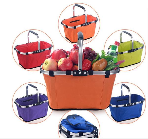 top popular Foldable Eco Shopping Basket Carry Bag Folding Aluminium Frame Collapsible Organization Storage Basket Mayitr House Supermarket Shopping 2021