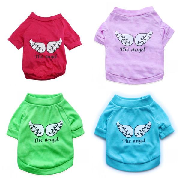 Durable Hund T Shirts Baumwolle Flügel Brief Die Engel Muster Welpen Kleidung Für Sommer Pet Kleidung Weste Heißer Verkauf 5 7 cyb4 B