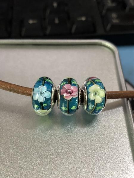 2pcs 925 Sterling Silver Thread Lampwork Flowers Murano Glass Loose Beads Fit European Pandora DIY Bracelet Necklace-m36