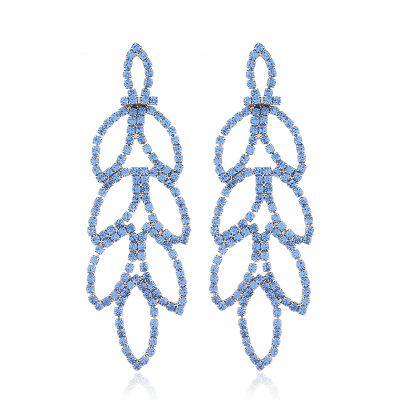 Tassels Earring Rhinestone Women Wedding Earring Pendant Chandelier Ear Stud Birthday Gift For Festival Tassels Ear Stud Leaf Ear Ring