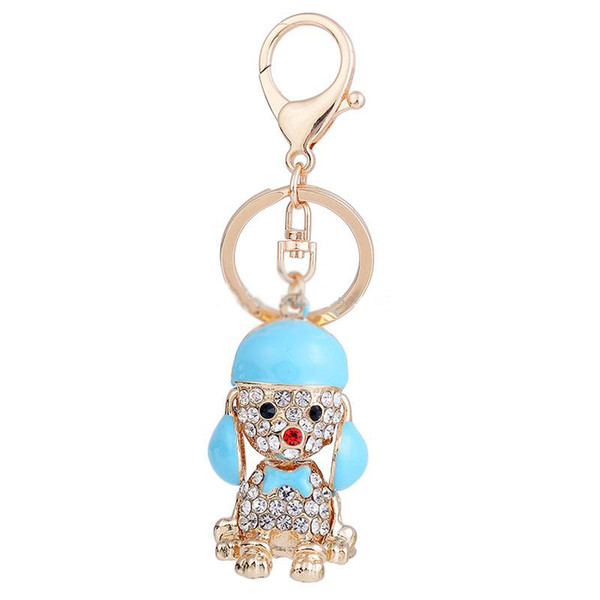 Fashion Accessories Poodle Keychain Crystal Metal Keychain Rose Gold Plated Keyring Car Keychains Purse Charms Handbag Pendant