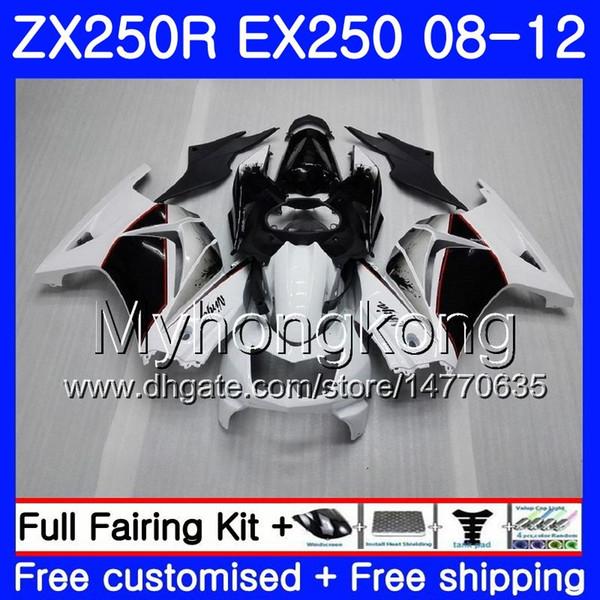 Cuerpo para KAWASAKI NINJA ZX-250R ZX250 R ZX 250R 08 09 10 11 12 201HM.1EX 250 ZX250R Negro blanco EX250 2008 2010 2010 2011 2012 Carenados