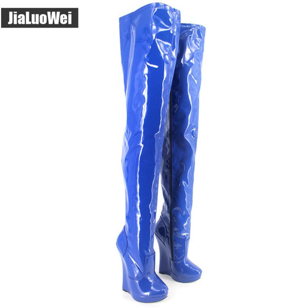 2018 New 18CM Women high Heel wedges Platform Shoes Blue BDSM Sexy Man thigh boots Fetish stunning slim unisex shoes costomized size