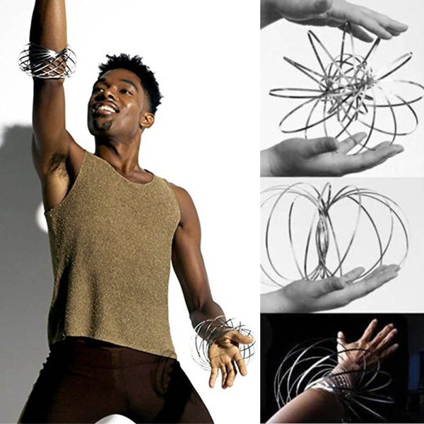Flow Toys Arm Slinkey Toy Flow Rings Kinetic Spring Bracelet Science Educational Sensory Interactive Cool Ring Rolls