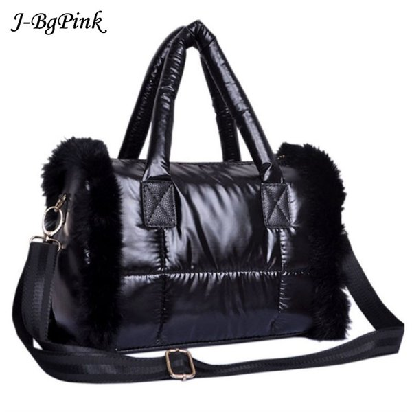 2018 New Rabbit fur Winter Space Bale Woman Cotton Totes Feather Padded Shoulder Bag Christmas gift bag Designer lady