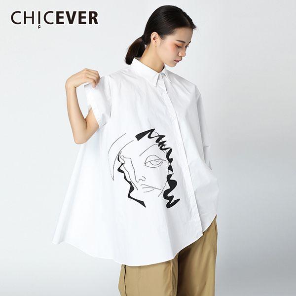 CHICEVER лето печати женщины рубашки асимметричный Batwing рукавом свободные негабаритных подол нерегулярные женская блузка рубашка мода прилив
