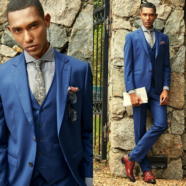 Simple Design Men Casual Suits Royal Blue Three Pieces (Blazer+Pant+Vest) Notched Lapel Two Buttons Office Metting Tuxedos Party Suits