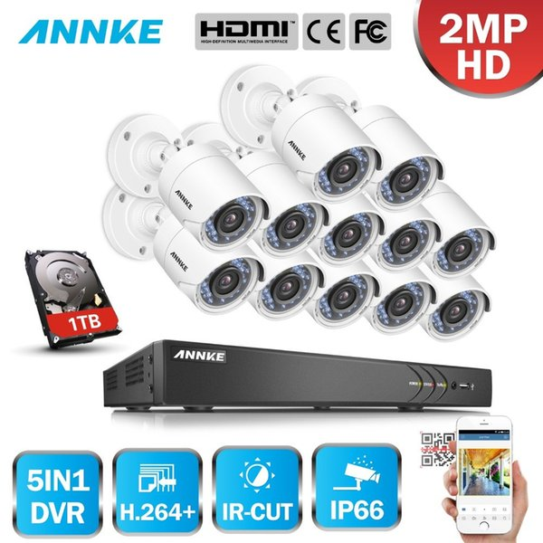 ANNKE 16CH 2MP HD 13 PCS DVR Security Camera System Outdoor 5 in 1 H.264 IP66 Weatherproof CCTV Surveillance Kit IR HDD 1/2/3TB