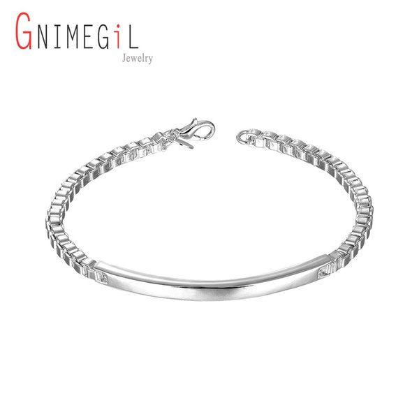 GNIMEGIL Silver Plated Bracelets Fashion Jewelry For Man Party Birthday Gift Silver Color Middle Card Box Chain Bracelet Jewelry
