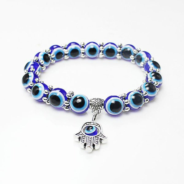 Wholesale Lucky Fatima Hamsa Hand Blue Evil Eye Charms Bracelets & Bangles Beads Turkish Pulseras For Women 2018 New Jewelry KKA2009