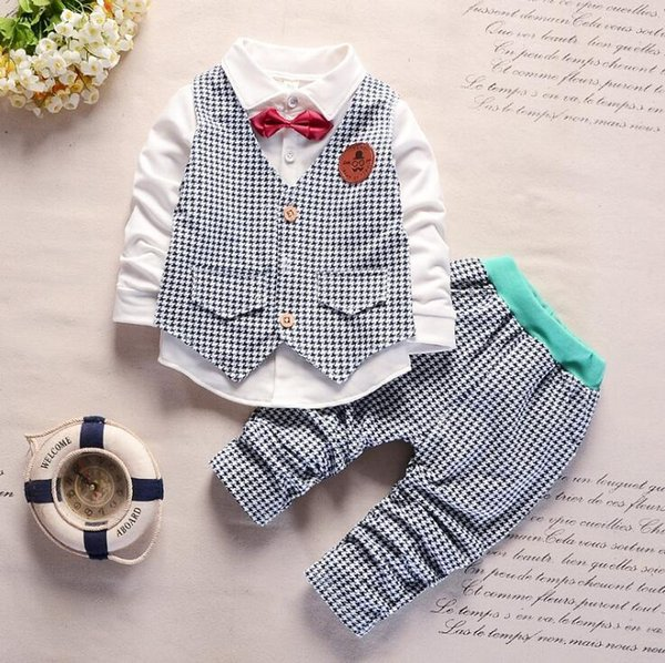 Spring and autumn children's clothing Suit Boys Outfit bow tie three piece set casual pants Boy Suit Toddler Newborn Set Baby Wear 1-4T