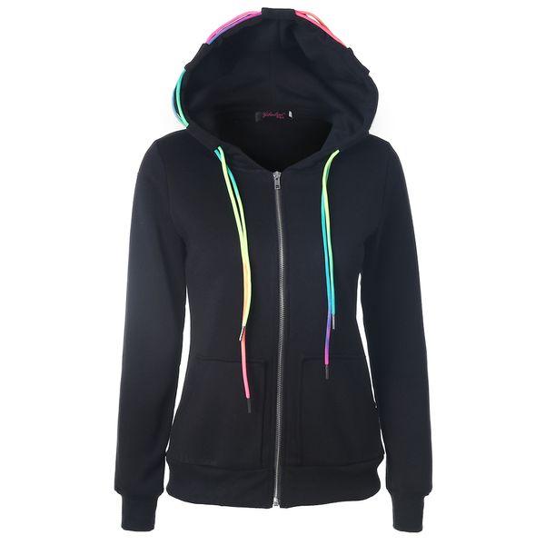Autumn 2018 Fashion Hoodies Sweatshirt Women Zipper Solid Long Sleeve Casual Color String Pockets Female Hooded Warm Coat Tops