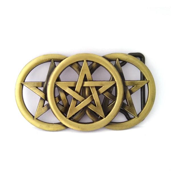 Color de cobre Pentáculo cinturón de metal bucklewholesale venta al por mayor de encargo hebilla de vaquero para accesorios de la correa