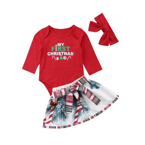 Nouveau-né Infantile Bébé Fille Noël Santa Barboteuse Tenue Habillée En Tenue Vêtement