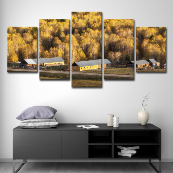Modern Wall Art Canvas HD Printed Painting Home Decor 5 Pieces Yellow Woods Trees Village Houses Poster Modular Pictures