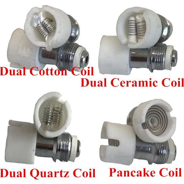 dual wax coil quartz Ceramic Cotton Pancake rebuildable atomizer core for M6 Glass globe dry herb vaporizer