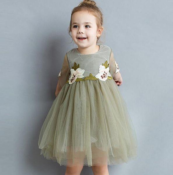 Hot Summer Baby Girls Lace Tulle Floral Dress Kids Flower Embroidery Ball Gown Princess Party Dress Children Cotton Tutu Dresses Beige Dark