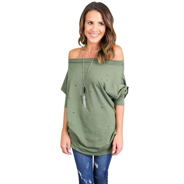 44e1d423844b2 BAMBOOBOY 2018 Spring Women Long Sleeve Ripped T Shirts Slash Neck Tee Sexy  Holes Tops Casual Loose T Shirt ZL790 T Shirt Awesome Shirt Design From ...