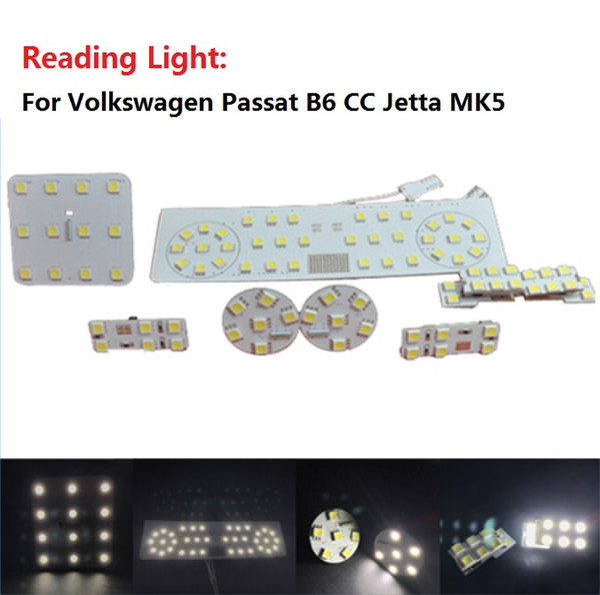 Para Volkswagen VW Passat B6 CC Jetta MK5 SMD5050 LED luz del domo interior del coche Lectura de luz 1set 8 unids total
