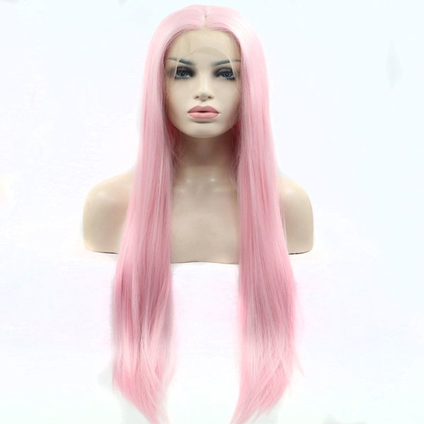 Colorful Synthetic Lace Front Wigs Long Straight Pink For White Women Glueless Synthetic Lace Front Wigs Heat Resistant Fiber Soft Hair