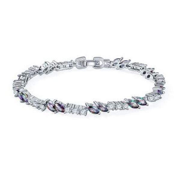 Wholesale Valentine Day Gift Fire Eye Shape Mystic Topaz Crystal Gemstone 925 Sterling Silver Bracelet Bangle Russia Bracelet Jewelry