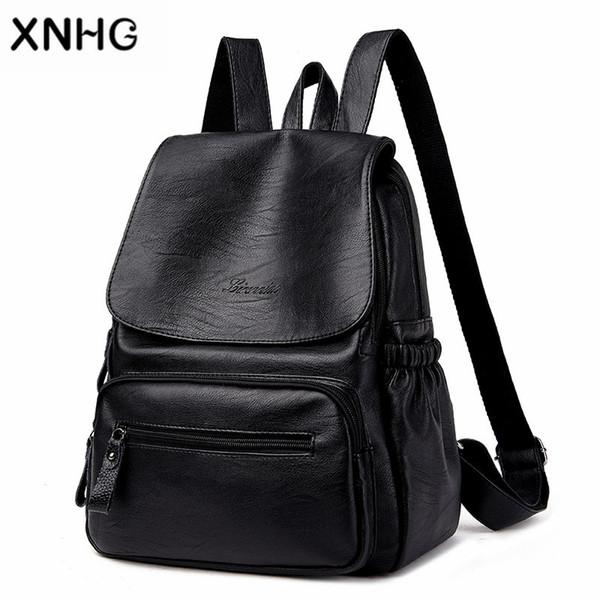 Классический чехол рюкзак женский искусственная кожа женщины черный рюкзаки школьная сумка кожа рюкзак на плече Mochila Feminina 2018
