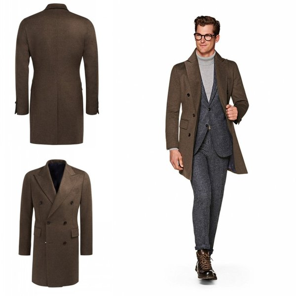 Popular Winter Autumn Hottest Men Fitted Brown Trench Coats Double Breasted Long Design Peaked Lapel England Style Overcoats For Sale