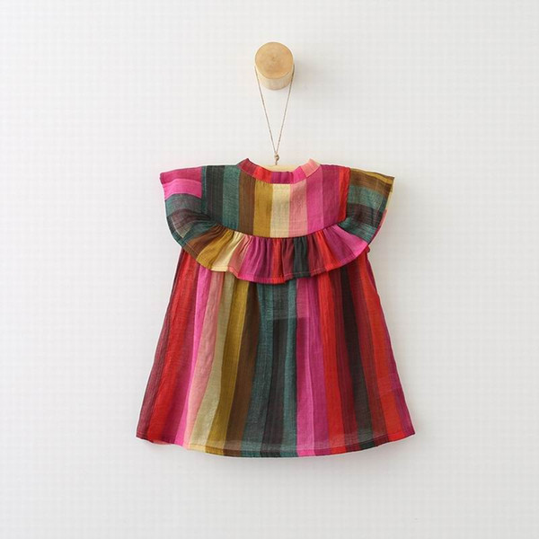 top popular Retail 2018 Summer New Girl Shirts Colorful Stripe Chiffon Flare Sleeve Fashion Blouse Children Clothing 2-7Y E0328 2021