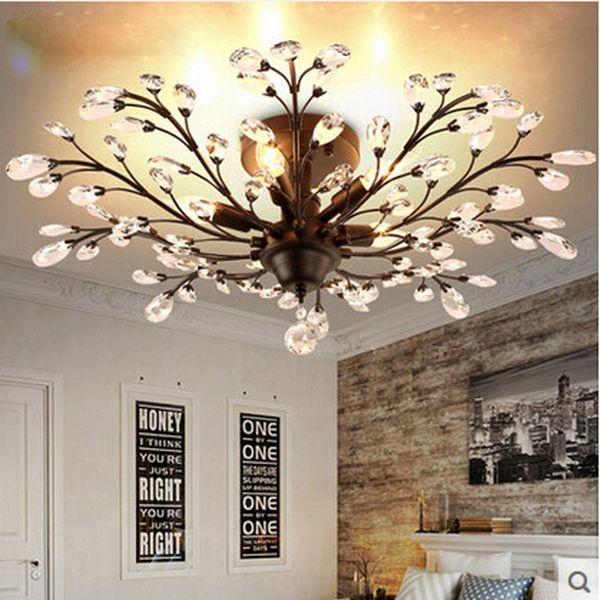 ZX Lámpara de Techo de Cristal Americano Europeo de Lujo Retro Dormitorio Sala de estar Comedor Araña de Hierro LED E14 Iluminación