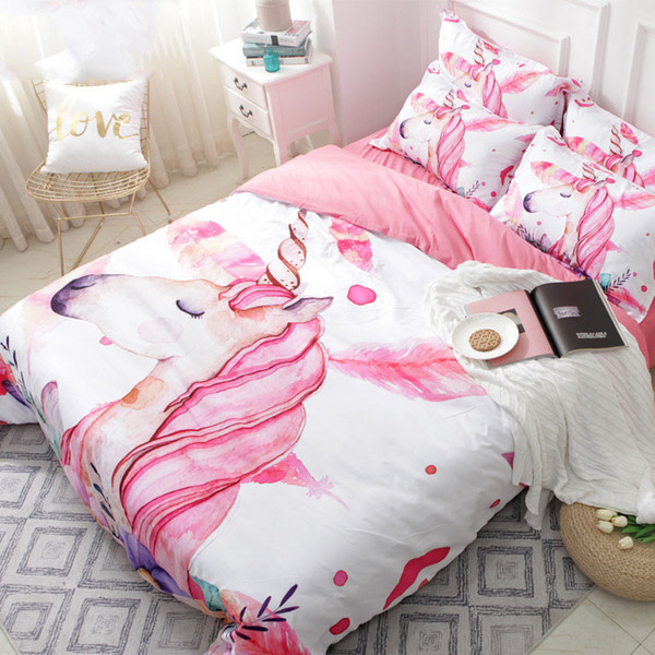 Unicorn Floral Cartoon Bedding Set Pink Girl Cute Duvet Cover Sets Twin  Full Queen King Size Quilt Cover Set Girls Beddings Bedding Sets Comforters  ...