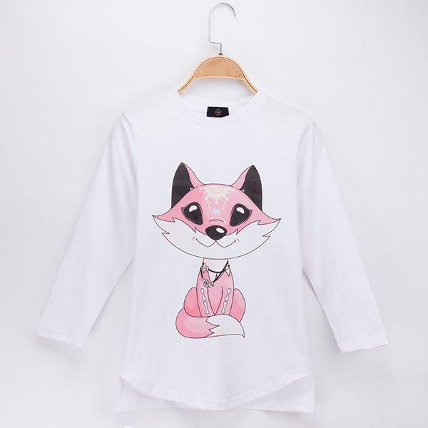 2018 New Spring Autumn Fashion Kids Clothes Girl T-shirts Fox Print 100% Cotton Full Child Shirts Children Long Sleeve T Shirt Baby Tops Tee