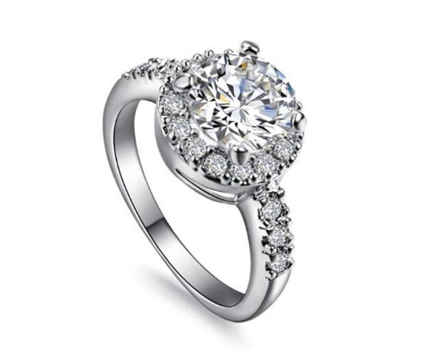Wholesale Jewelry 2CT Round Halo Style Synthetic Diamonds Jewelry Engagement Ring Women 925 Sterling Silver Ring Wedding