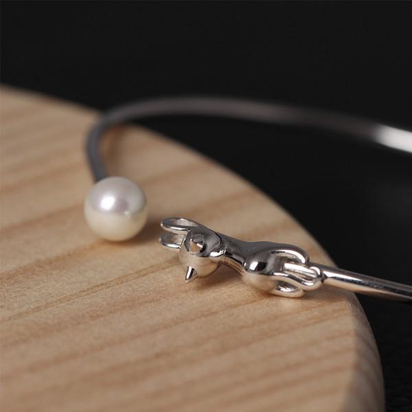Designer de moda jóias 925 sterling silver bracelet open charme feminino doce contas bonito cat pulseira de abertura Xiao Mao atacado ajustável