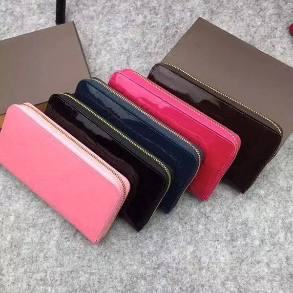 2019 nouveau concepteur classique portefeuille standard en cuir verni bourse longue sac polychrome argent sac à fermeture à glissière poche poche multicolore monnaie shinny