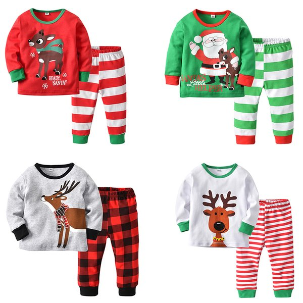 Baby Christmas Pajama Outfits Santa Claus Moose Elk Cartoon Printed Deer Nose Autumn Winter Home Designer Clothes Boys Girls Clothing Sets