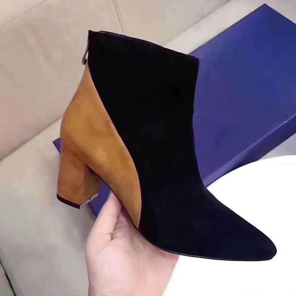 2019 Fall Winter Suede Short Martin Boots High Chunky Heels Designer Ladies Fashion Boots Wellies Boots For Women From Fashion_hot_shoe, $127.71|