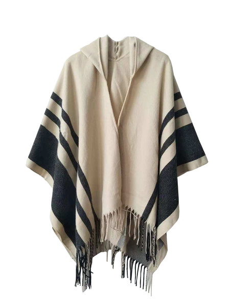 Women Tassel Shawls 2 Colors Fashion Stripes Beige Gray Scarves Hooded Shawls Poncho Wraps for Winter Free Shipping