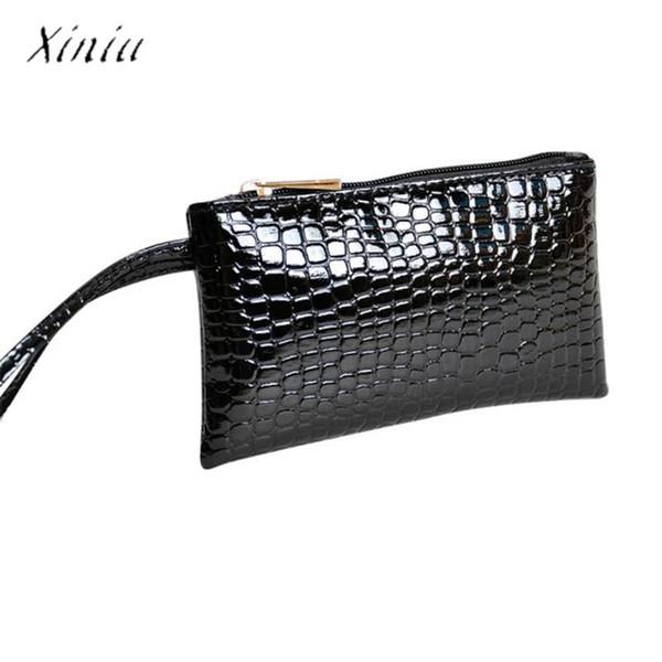 Donne coccodrillo in pelle frizione borsa a mano portamonete portafogli donne famose marca signore portamonete billeteras para mujer carteira