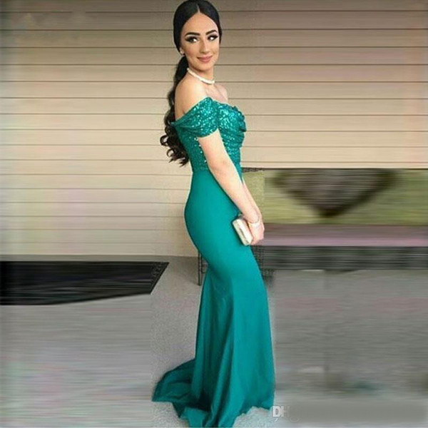 Turquoise Green Off the shoulder Mermaid Evening Dresses Sequined Sexy Prom Dress Bridesmaid Gowns Party Gowns Party Dresses Formal Wear