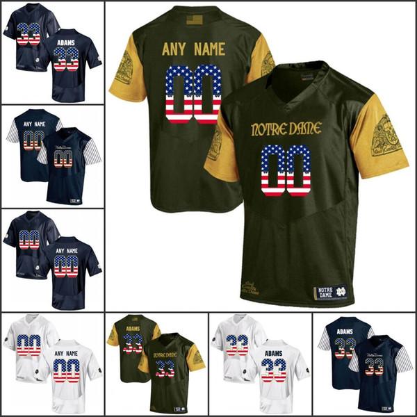 National flag Custom NCAA Notre Dame Fighting Irish College Football jerseys Any Name Number 3 Joe Montana 7 Wimbush 33 Adams